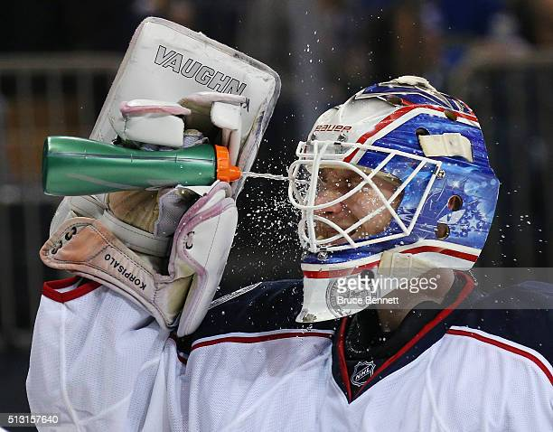 Joonas Korpisalo of the Columbus Blue Jackets takes a water break during the second period against the New York Rangers at Madison Square Garden on...