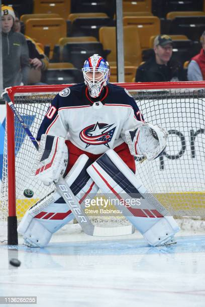 Joonas Korpisalo of the Columbus Blue Jackets warms up before the game against the Boston Bruins at the TD Garden on March 16 2019 in Boston...
