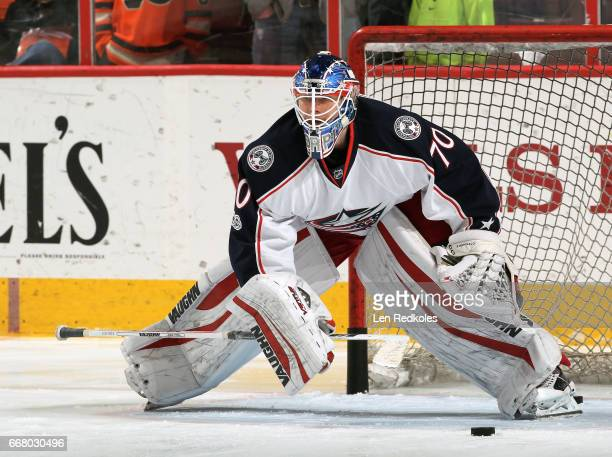 Joonas Korpisalo of the Columbus Blue Jackets warms up prior to his game against the Philadelphia Flyers on April 8 2017 at the Wells Fargo Center in...