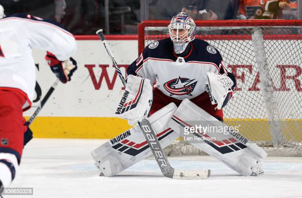Joonas Korpisalo of the Columbus Blue Jackets warms up prior to his game against the Philadelphia Flyers on March 15 2018 at the Wells Fargo Center...