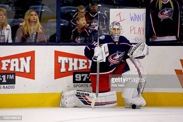 Joonas Korpisalo of the Columbus Blue Jackets warms up prior to the start of the game against the Colorado Avalanche on October 9 2018 at Nationwide...