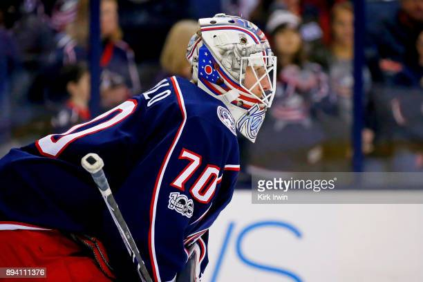 Joonas Korpisalo of the Columbus Blue Jackets warms up prior to the start of the game against the Edmonton Oilers on December 12 2017 at Nationwide...