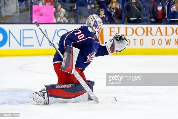 Joonas Korpisalo of the Columbus Blue Jackets warms up prior to the start of the game against the Columbus Blue Jackets on March 9 2018 at Nationwide...