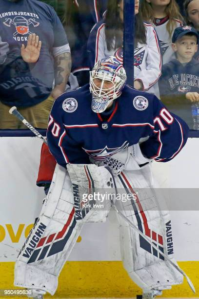 Joonas Korpisalo of the Columbus Blue Jackets warms up prior to the start of Game Four of the Eastern Conference First Round during the 2018 NHL...