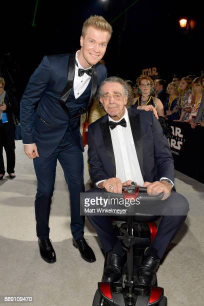 """Joonas Suotamo and Peter Mayhew attend the premiere of Disney Pictures and Lucasfilm's """"Star Wars: The Last Jedi"""" at The Shrine Auditorium on..."""
