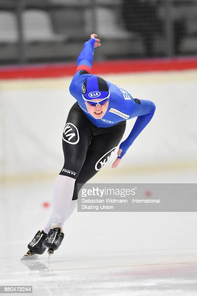 Joonas Valge of Estonia performs during the Men 1500 Meter at the ISU ISU Junior World Cup Speed Skating at Max Aicher Arena on November 26 2017 in...