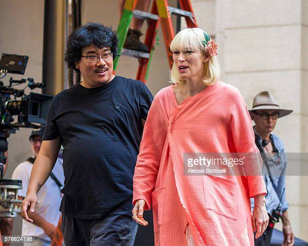 Joonho Bong and Tilda Swinton are seen on set of Okja in Downtown on July 16 2016 in New York City