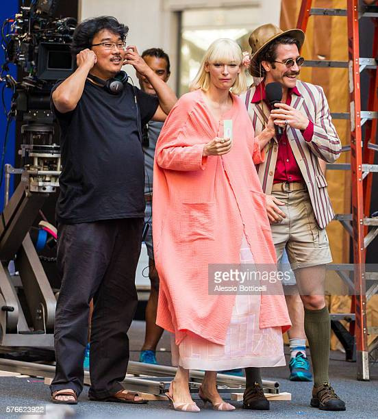 Joonho Bong Tilda Swinton and Jake Gyllenhaal are seen on set of Okja in Downtown on July 16 2016 in New York New York