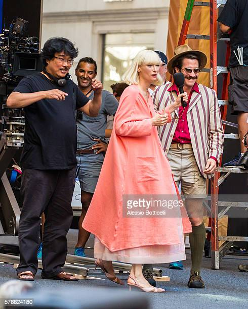 Joonho Bong Tilda Swinton and Jake Gyllenhaal are seen on set of Okja in Downtown on July 16 2016 in New York City