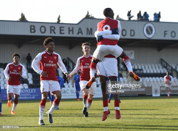 Joosh Dasilva celebrates scoring Arsenal's 2nd goal with Eddie nketiah and Reiss Nelson during the match between Arsenal and Dinamo Zagreb at Meadow...
