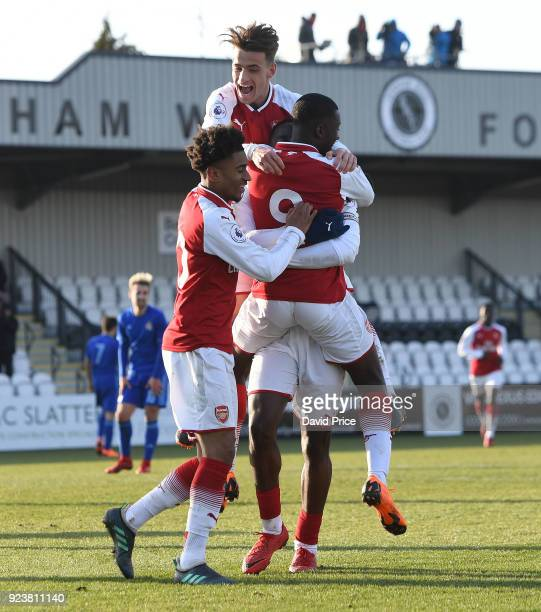 Joosh Dasilva celebrates scoring Arsenal's 2nd goal with Eddie Nketiah Vlad Dragomir and Reiss Nelson during the match between Arsenal and Dinamo...