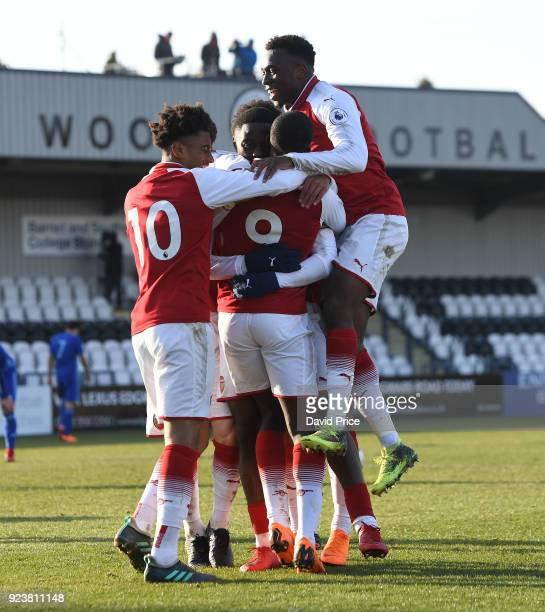 Joosh Dasilva celebrates scoring Arsenal's 2nd goal with Eddie Nketiah Tolaji Bola and Reiss Nelson during the match between Arsenal and Dinamo...