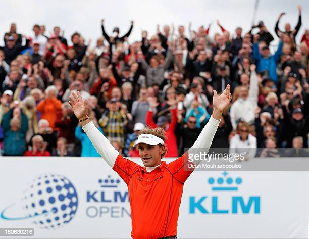 Joost Luiten of Netherlands celebrates after winning the KLM Open at Kennemer G CC on September 15 2013 in Zandvoort Netherlands