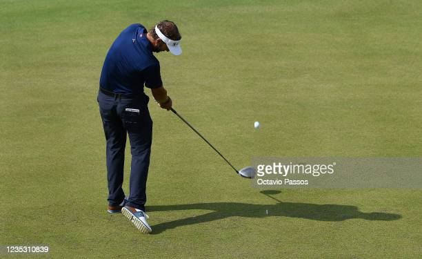 Joost Luiten of Netherlands plays his tee shot to the 1st hole during Day Two of the Dutch Open at Bernardus Golf on September 17, 2021 in Cromvoirt,...