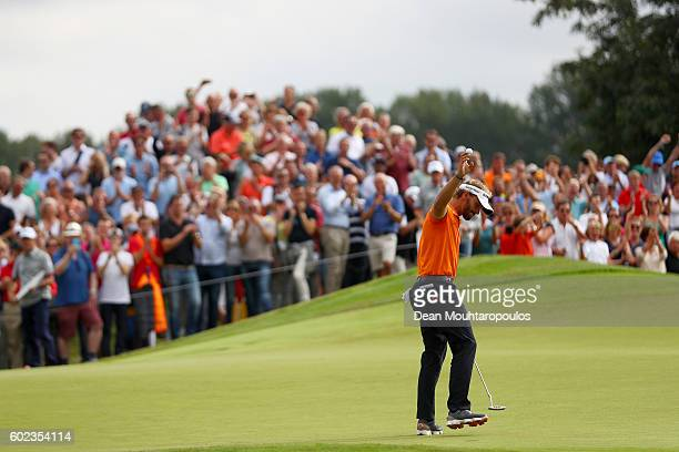 Joost Luiten of the Netherlands acknowledges the crowd after putting on the 17th during the final round on day four of the KLM Open at The Dutch on...