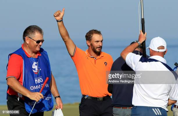 Joost Luiten of the Netherlands celebrates his victory on the 18th green during the final round of the NBO Oman Open at Al Mouj Golf on February 18...