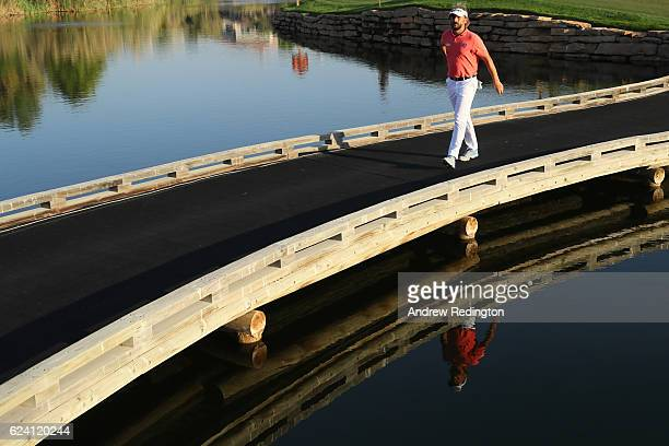 Joost Luiten of the Netherlands crosses the bridge on the 17th hole during day two of the DP World Tour Championship at Jumeirah Golf Estates on...