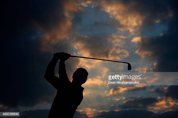 Joost Luiten of the Netherlands hits a practice shot on the driving range during Day 1 of the KLM Open held at De Kennemer Golf and Country Club on...
