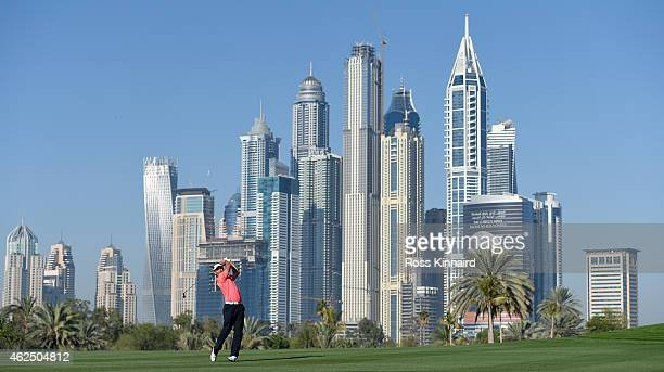 Joost Luiten of the Netherlands on the 13th hole during the second round of the Omega Dubai Desert Classic at the Emirates Golf Club on January 30...