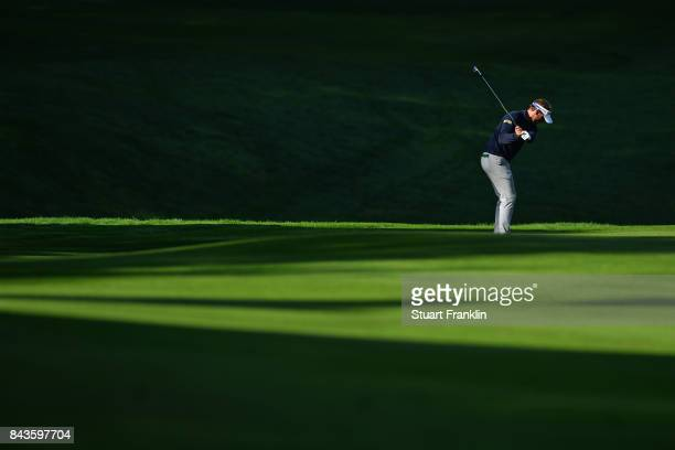 Joost Luiten of The Netherlands on the 14th during day one of the 2017 Omega European Masters at CranssurSierre Golf Club on September 7 2017 in...