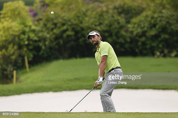 Joost Luiten of the Netherlands plays a shot during the second round of the Shenzhen International at Genzon Golf Club on April 22 2016 in Shenzhen...