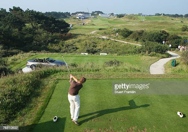 Joost Luiten of The Netherlands plays his tee shot on the 17th hole during the second round of The KLM Open at Kennemer Golf Country Club on August...