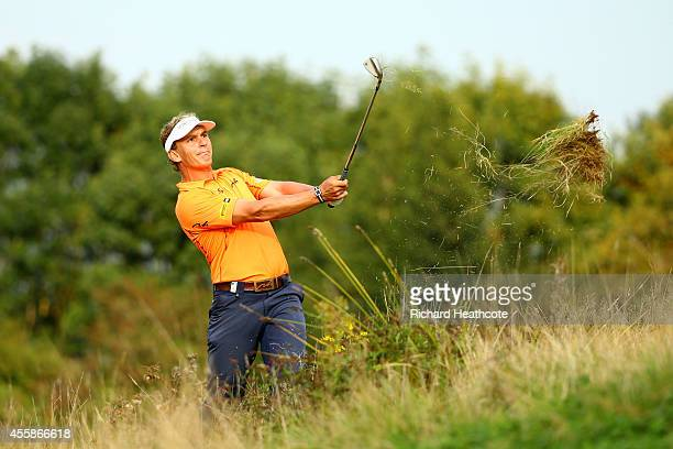 Joost Luiten of the Netherlands plays out of the deep rough on the 18th hole on day four of the ISPS Handa Wales Open at Celtic Manor Resort on...