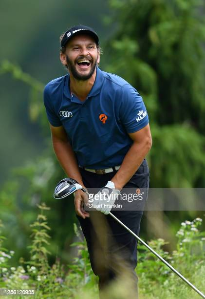 Joost Luiten of The Netherlands reacts to a shot during practice prior to the Euram Bank Open at Golf Club Adamstal on July 14, 2020 in Ramsau,...