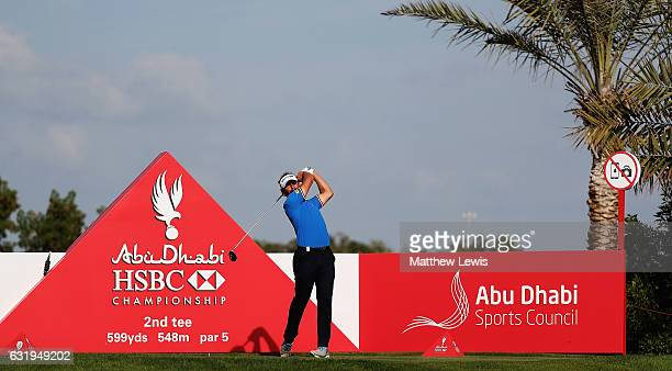 Joost Luiten of the Netherlands tees off on the 2nd hole during the ProAm ahead of the Abu Dhabi HSBC Championship at Abu Dhabi Golf Club on January...