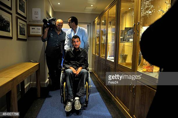 Joost van der Westhuizen at a press conference on August 28 2014 in Camps Bay South Africa The former Springbok rugby player who has had Motor...