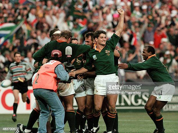 Joost van der Westhuizen of South Africa at the final whistle of the Rugby Union World Cup Final between South Africa and the New Zealand All Blacks...