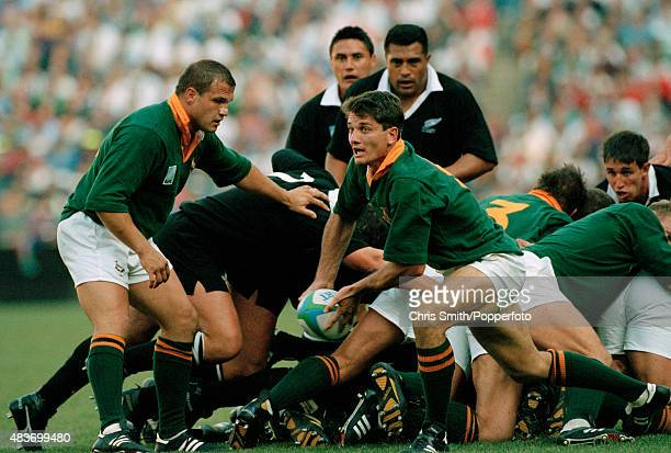 Joost van der Westhuizen of South Africa in action during the Rugby Union World Cup Final against the New Zealand All Blacks at Ellis Park in...