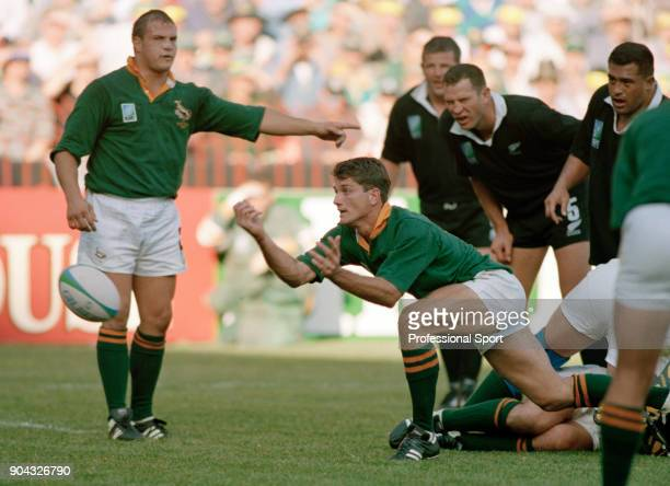 Joost van der Westhuizen of South Africa in action during the Rugby Union World Cup Final against New Zealand at the Ellis Park Stadium in...
