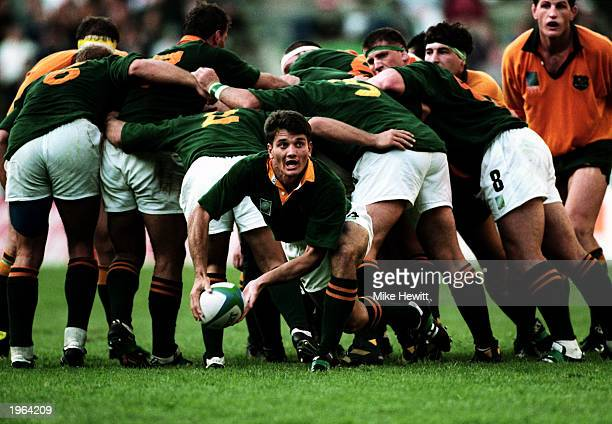 Joost Van Der Westhuizen of South Africa passes out of the scrum during the Rugby World Cup match between Australia and South Africa on May 25 1995...