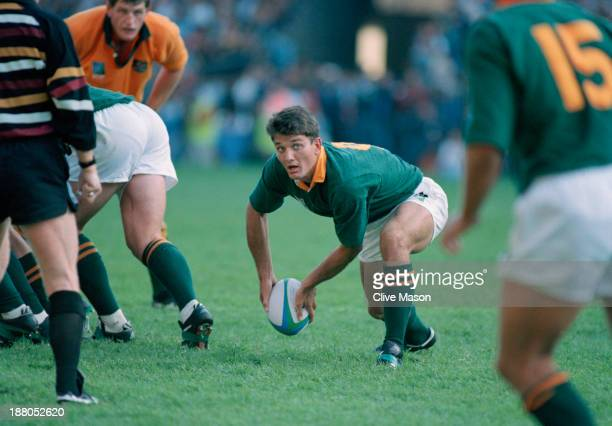 Joost van der Westhuizen of South Africa passes the ball during a pool stage match against Australia in the Rugby World Cup at Newlands Cape Town...