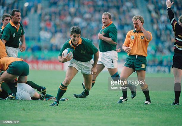 Joost van der Westhuizen of South Africa with the ball during a pool stage match against Australia in the Rugby World Cup at Newlands Cape Town South...
