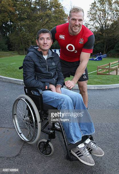 Joost van der Westhuizen the former South African Sprinbok who is suffering with Motor Neurone Disease poses with James Hasekll after the England...