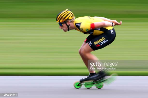 Joost van Dobbenburgh is pictured at a training session with the Team Jumbo-Visma at the IJs- en Skeelerclub Lindenoord on June 17, 2020 in Wolvega,...