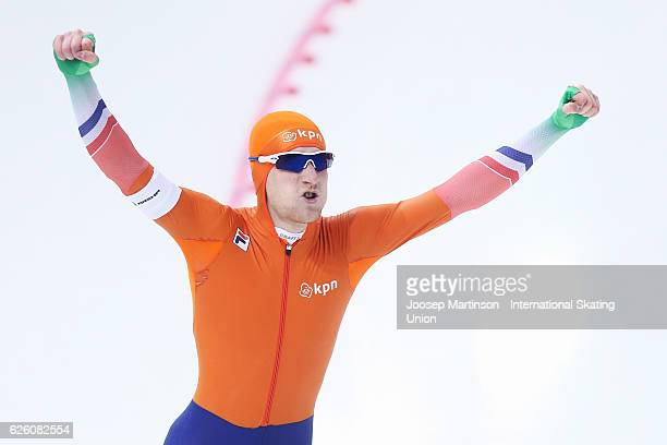 Joost van Dobbenburgh of Netherlands competes in Men's 1500m during day two of ISU Junior World Cup Speed Skating at Minsk Arena on November 27 2016...