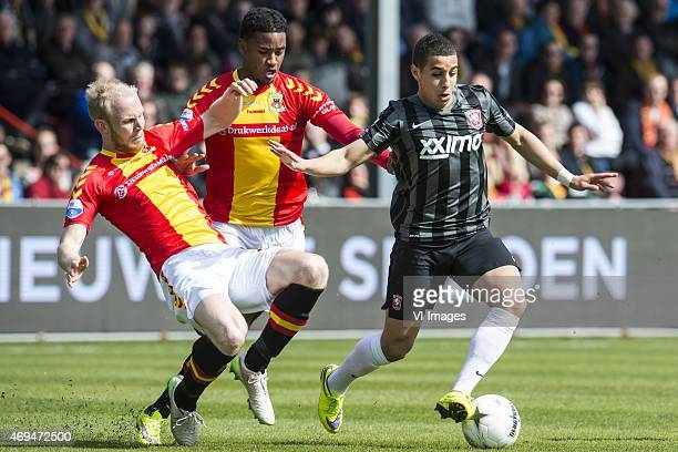Jop van der Linden of Go Ahead Eagles Giliano Wijnaldum of Go Ahead Eagles Bilal OuldChiki of FC Twente during the Dutch Eredivisie match between Go...