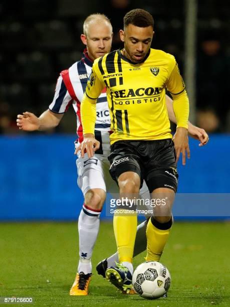 Jop van der Linden of Willem II Johnatan Opoku of VVV Venlo during the Dutch Eredivisie match between VVVvVenlo Willem II at the Seacon Stadium De...