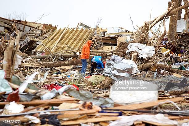 joplin missouri deadly f5 tornado debris scattered - joplin missouri stock pictures, royalty-free photos & images