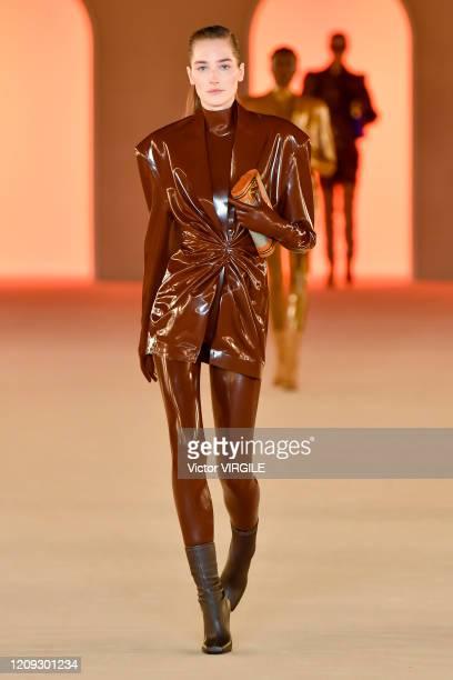 Jopsephine Le Tutour walks the runway during the Balmain Ready to Wear fashion show as part of the Paris Fashion Week Womenswear Fall/Winter...