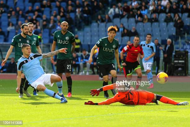 Joquin Correa of SS Lazio in action during the Serie A match between SS Lazio and Bologna FC at Stadio Olimpico on February 29, 2020 in Rome, Italy.