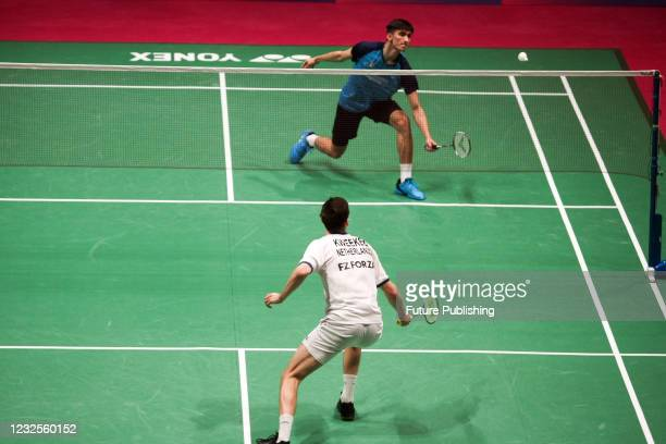 Joran Kweekel of the Netherlands and Cristian Savin of Moldova are seen during their men's singles match at the 2021 European Badminton Championships...