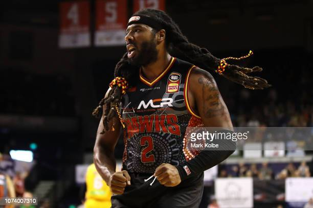 Jordair Jett of the Hawks celebrates after a dunk during the round nine NBL match between the Illawarra Hawks and the Sydney Kings at Wollongong...