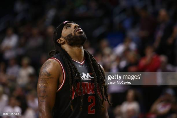 Jordair Jett of the Hawks looks dejected during the round one NBL match between the Illawarra Hawks and Melbourne United at Wollongong Entertainment...