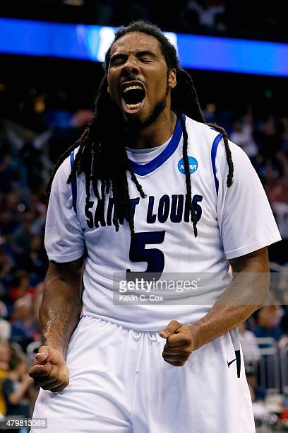Jordair Jett of the Saint Louis Billikens celebrates a basket in the second half against the North Carolina State Wolfpack during the second round of...