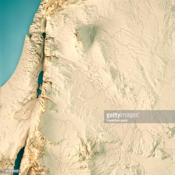jordan 3d render topographic map color - frank ramspott stock pictures, royalty-free photos & images