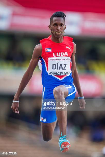 Jordan A Diaz of Cuba jumps a U18 World record during day 3 of the IAAF U18 World Championships at Moi International Sports Centre Kasarani Arena on...